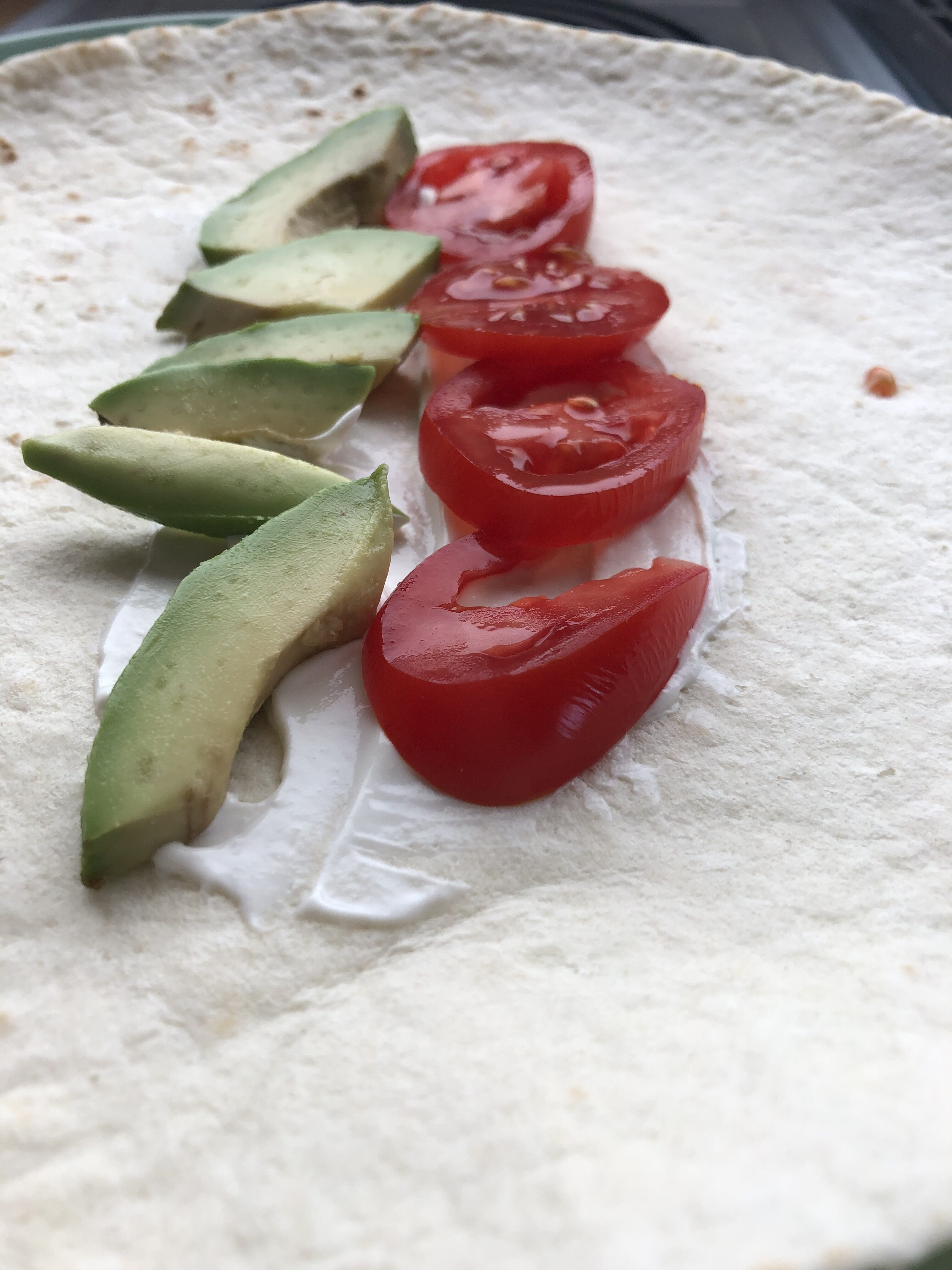 Tomato and Avocado on a tortilla-Tuttle Kitchen